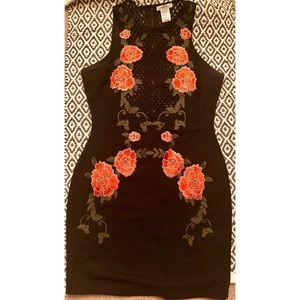 Black bodycon dress - peach and green Floral